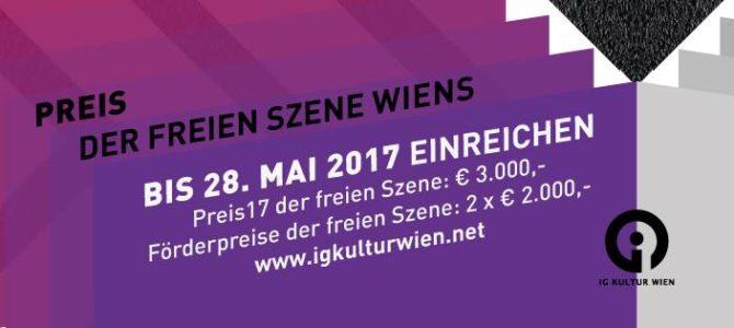 Ausschreibung – Preis der freien Szene Wiens 2017
